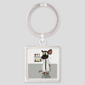 Laboratory mouse, conceptual artwo Square Keychain