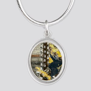 John Feeks being electrocuted Silver Oval Necklace