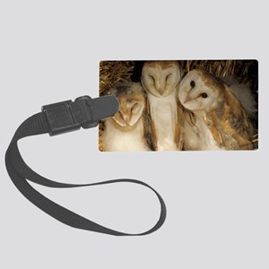 Young barn owls Large Luggage Tag