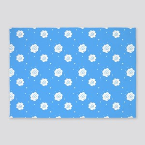 Baby Blue Floral Abstract 47 Design 5'x7'Area Rug