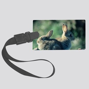Young European rabbits Large Luggage Tag