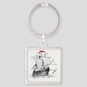 Pirate Ship Square Keychain
