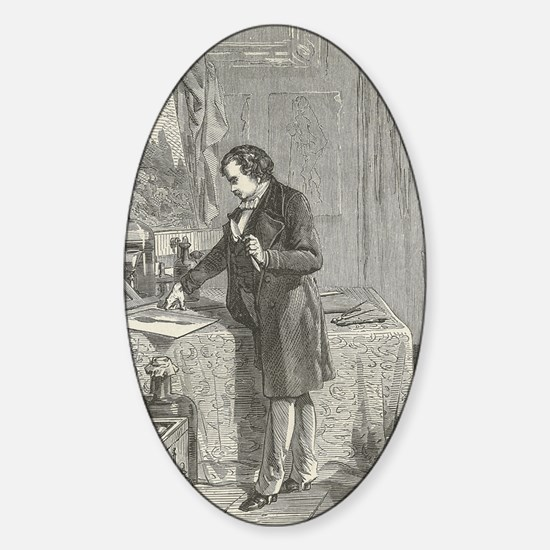 Louis Daguerre, photography invento Sticker (Oval)