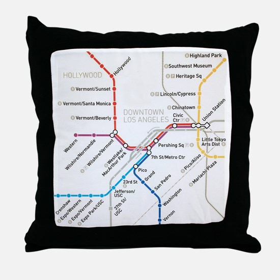 LA Metro map Throw Pillow