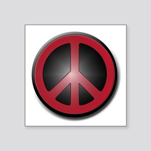 "Glowing Red Peace Symbol Square Sticker 3"" x 3"""