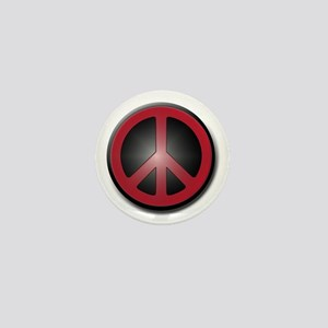 Glowing Red Peace Symbol Mini Button