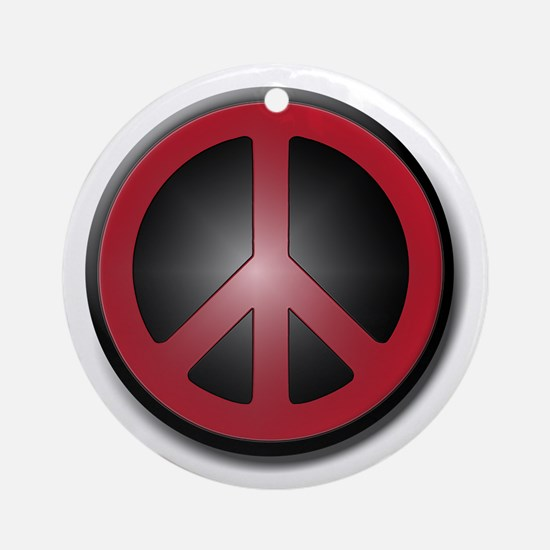 Glowing Red Peace Symbol Round Ornament