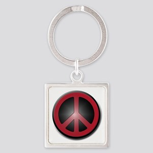 Glowing Red Peace Symbol Square Keychain