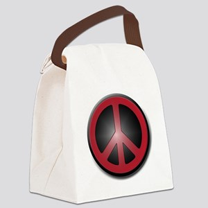 Glowing Red Peace Symbol Canvas Lunch Bag