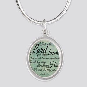 Trust  in the Lord Silver Oval Necklace