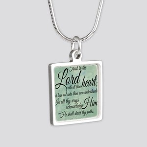 Trust  in the Lord Silver Square Necklace