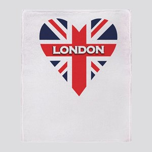 London Heart Script Throw Blanket