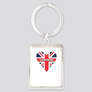 London Heart Script Portrait Keychain