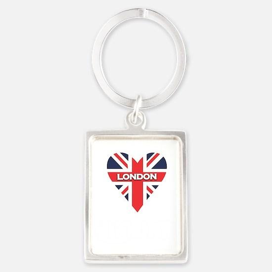 London Heart Script Portrait Keychain
