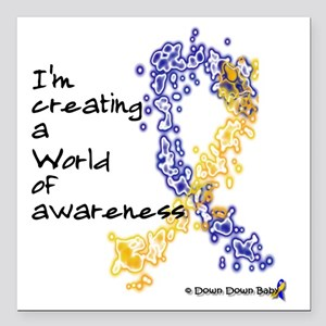 """World of Down Syndrome A Square Car Magnet 3"""" x 3"""""""