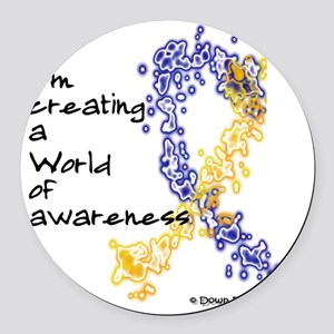 World of Down Syndrome Awareness  Round Car Magnet