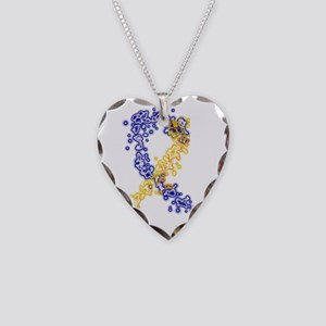 Down Syndrome Awareness Ribbo Necklace Heart Charm