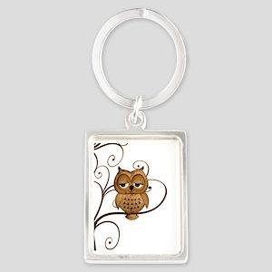 Brown Swirly Tree Owl Portrait Keychain
