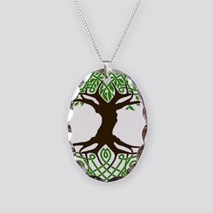 colored tree of life Necklace Oval Charm