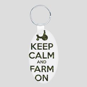 Camouflage Keep Calm and Fa Aluminum Oval Keychain