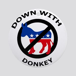 Down with Donkey 2 Round Ornament