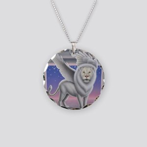 Winged Lion Necklace Circle Charm