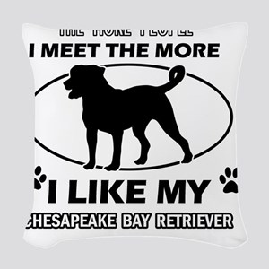Chesapeake bay retriever desig Woven Throw Pillow