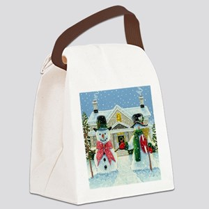 American Snowman Gothic Canvas Lunch Bag