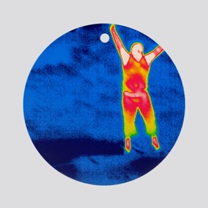 Man jumping, thermogram Round Ornament
