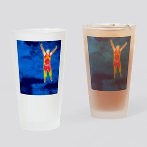 Man jumping, thermogram Drinking Glass
