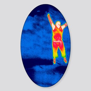 Man jumping, thermogram Sticker (Oval)