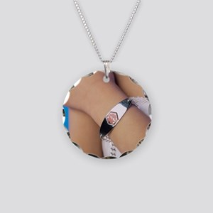 Medical identification tag Necklace Circle Charm