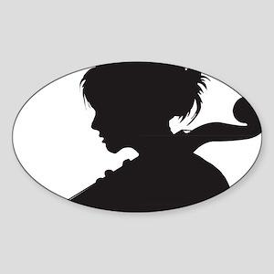 Cello-Player-07-a Sticker (Oval)
