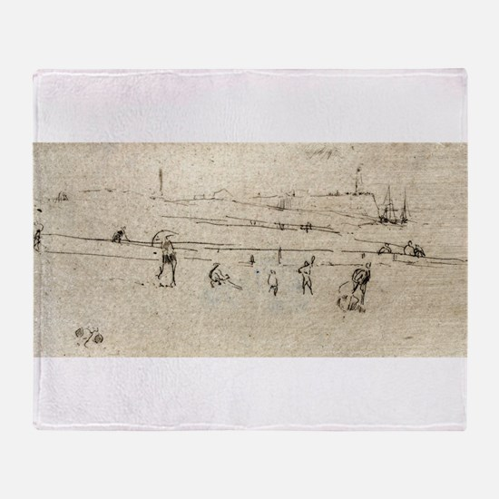 A sketch at Dieppe - Whistler - c1880 Throw Blanke