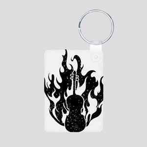 Flaming-Cello-01-a Aluminum Photo Keychain
