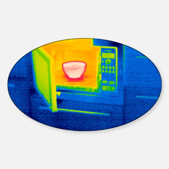 Microwave oven, thermogram Sticker (Oval)