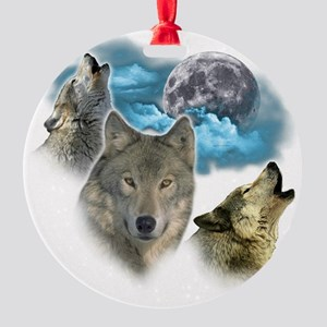 Wolves Moon Round Ornament