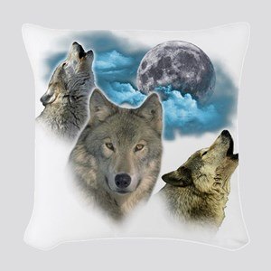 Wolves Moon Woven Throw Pillow