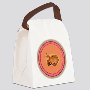 Frog On The Wall Canvas Lunch Bag