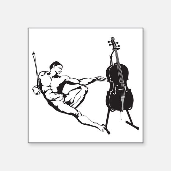 """Cello-Player-x-01-a Square Sticker 3"""" x 3"""""""
