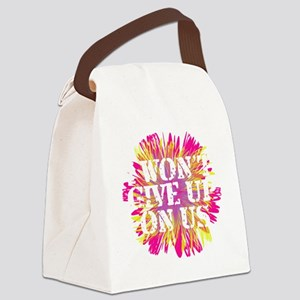 Flower I Wont Give Up WHT Canvas Lunch Bag