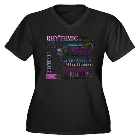 I Heart Rhyt Women's Plus Size Dark V-Neck T-Shirt