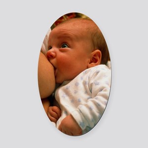 Mother breast-feeding her 3 month  Oval Car Magnet