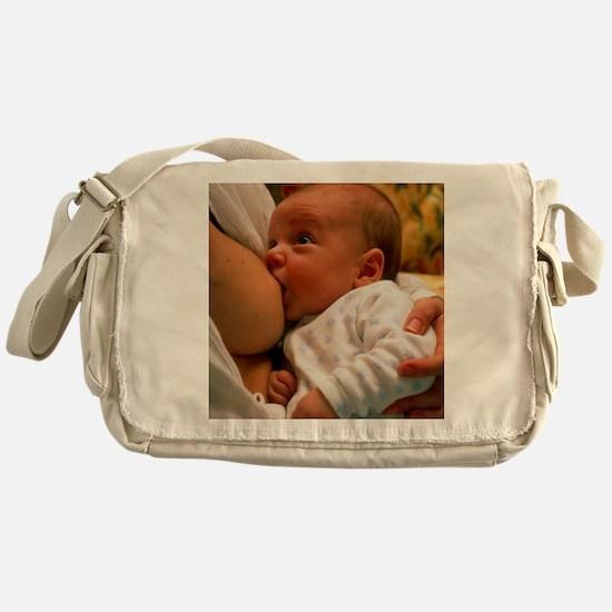 Mother breast-feeding her 3 month ol Messenger Bag