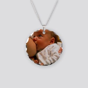 Mother breast-feeding her 3  Necklace Circle Charm