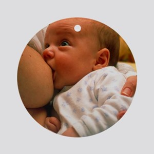 Mother breast-feeding her 3 month o Round Ornament