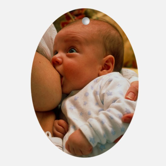 Mother breast-feeding her 3 month ol Oval Ornament