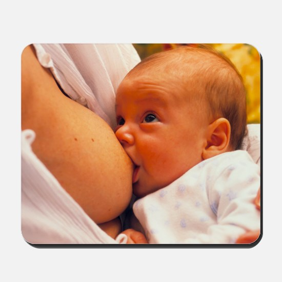 Mother breast-feeding her 3 month old ba Mousepad