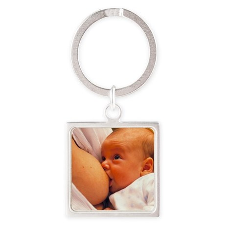 Mother breast-feeding her 3 month Square Keychain