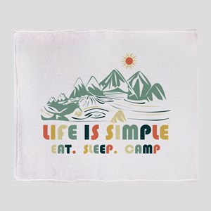Life is simple.Eat. Sleep. Camp Throw Blanket